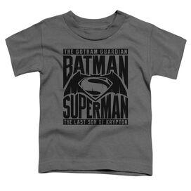Batman V Superman Title Fight Short Sleeve Toddler Tee Charcoal T-Shirt