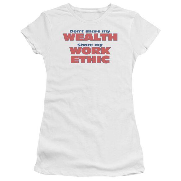 Share My Work Ethic Short Sleeve Junior Sheer T-Shirt