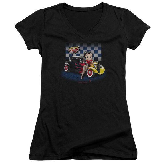 Betty Boop Hot Rod Boop Junior V Neck T-Shirt