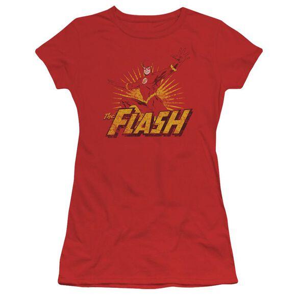 Jla Flash Rough Distress Short Sleeve Junior Sheer T-Shirt