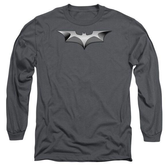 Dark Knight Metal Bat Logo Long Sleeve Adult T-Shirt