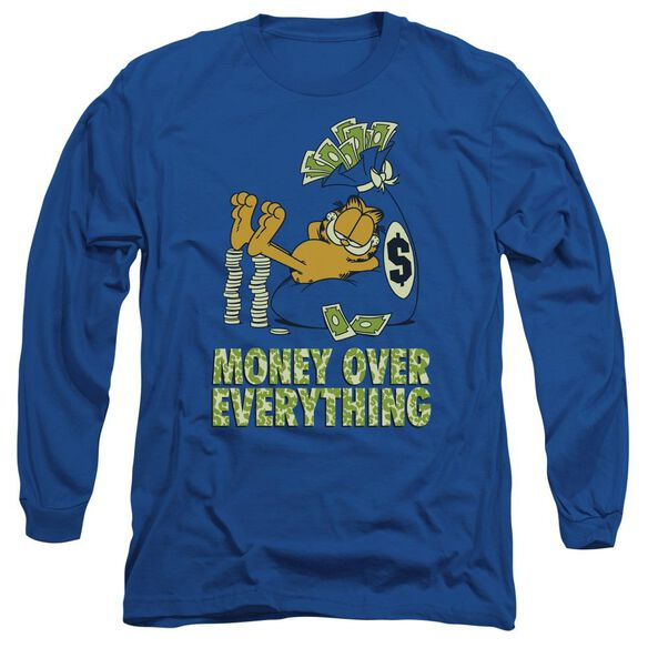 Garfield Money Is Everything Long Sleeve Adult Royal T-Shirt
