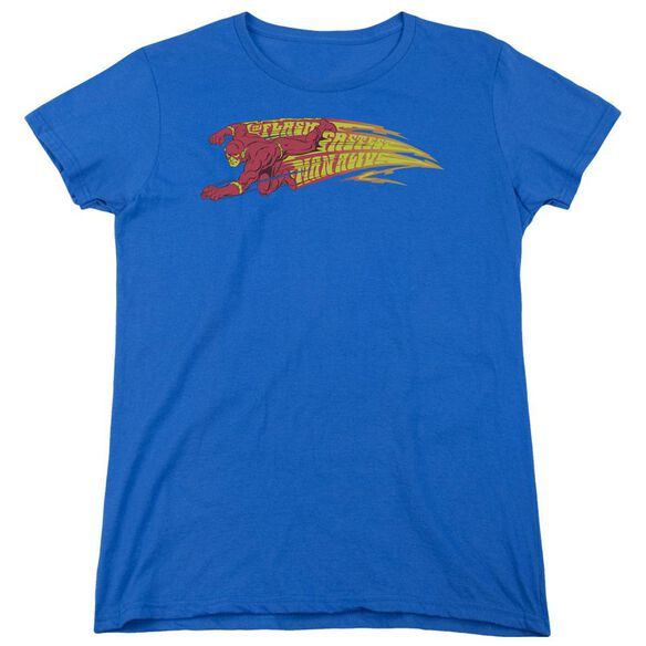 Dc Flash Fastest Man Alive Short Sleeve Womens Tee Royal T-Shirt