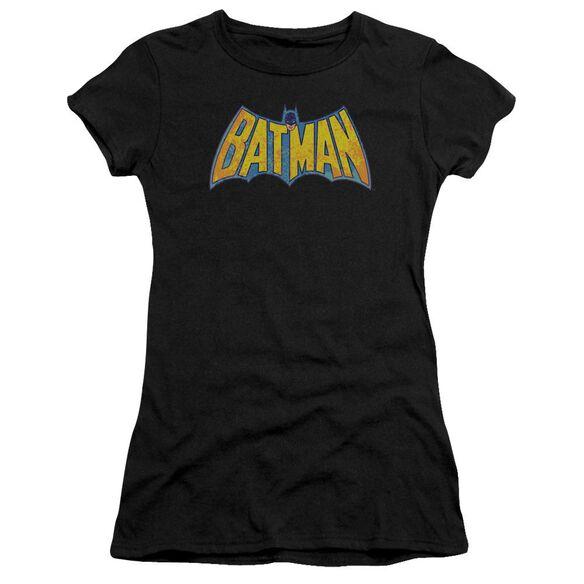 Dco Batman Neon Distress Logo Short Sleeve Junior Sheer T-Shirt