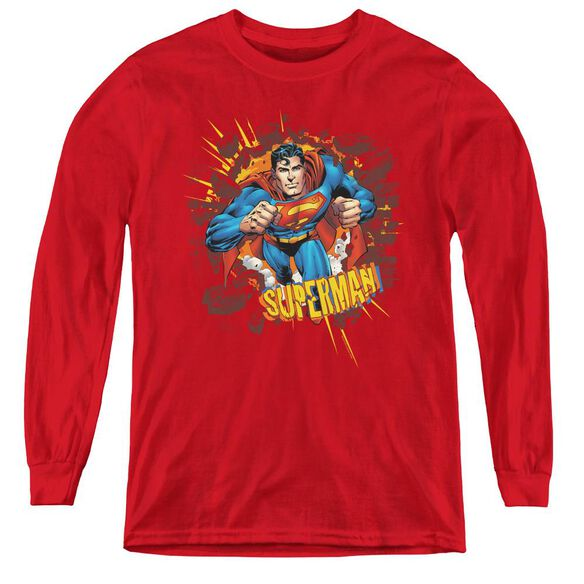 Superman Sorry About The Wall - Youth Long Sleeve Tee - Red