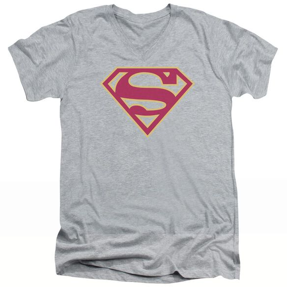 SUPERMAN RED & GOLD SHIELD - S/S ADULT V-NECK - ATHLETIC HEATHER T-Shirt