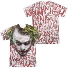 Dark Knight Joker Face (Front Back Print) Short Sleeve Adult Poly Crew Sublimate T-Shirt