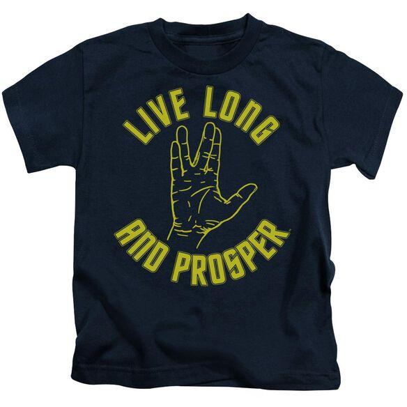 Star Trek Live Long Hand Short Sleeve Juvenile Navy T-Shirt