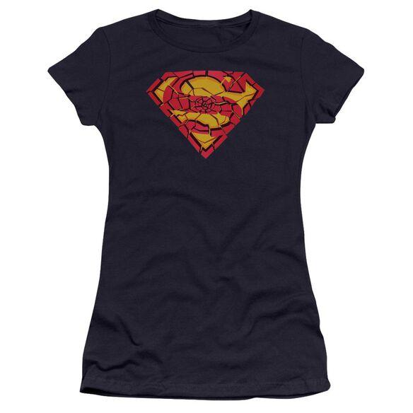 Superman Shattered Shield Premium Bella Junior Sheer Jersey