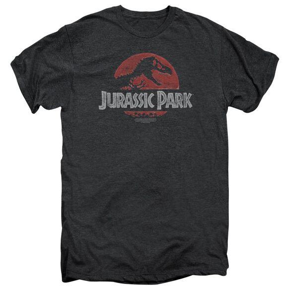 Jurassic Park Faded Logo Short Sleeve Adult Premium Tee Smoke T-Shirt