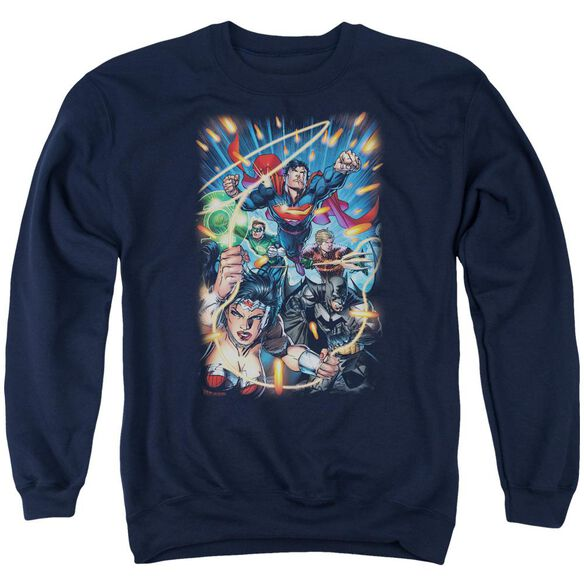 Jla Under Attack Adult Crewneck Sweatshirt