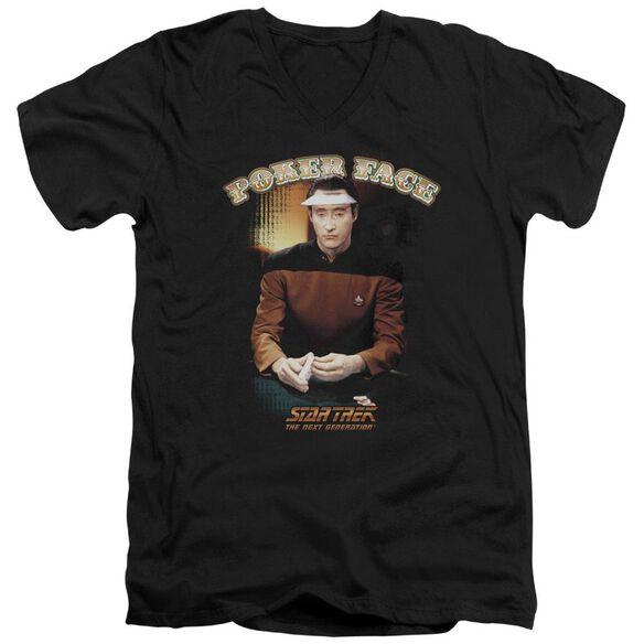 Star Trek Poker Face Short Sleeve Adult V Neck T-Shirt