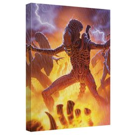 Aliens Lightning Canvas Wall Art With Back Board
