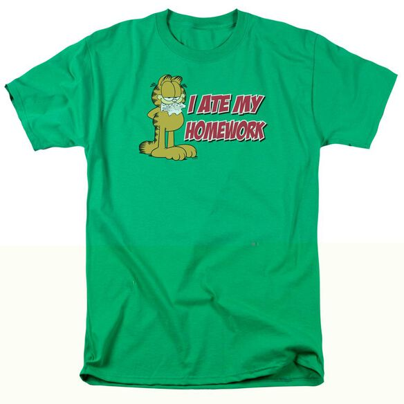GARFIELD I ATE MY HOMEWORK - S/S ADULT 18/1 - KELLY GREEN T-Shirt
