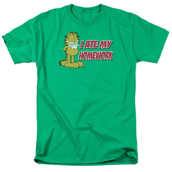 GARFIELD I ATE MY HOMEWORK-S/S ADULT 18/1 - KELLY GREEN T-Shirt
