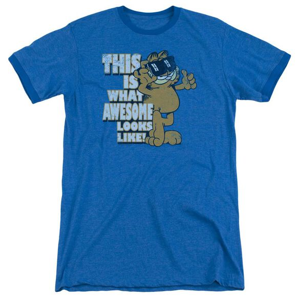 Garfield Awesome Adult Heather Ringer Royal Blue