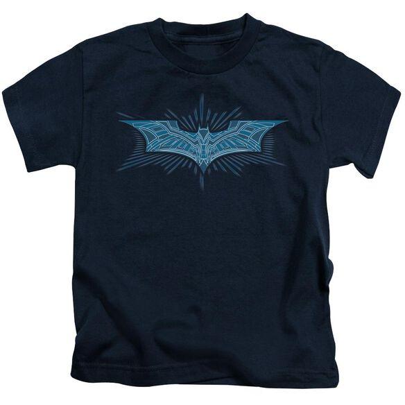 Dark Knight Bat Armor Logo Short Sleeve Juvenile Navy T-Shirt