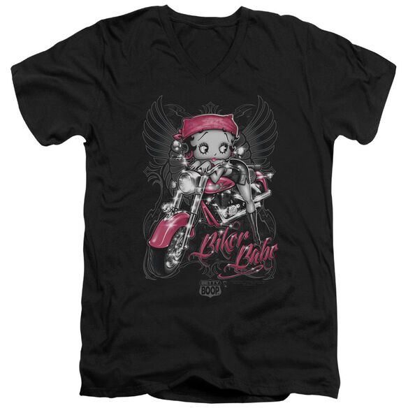 Betty Boop Biker Babe Short Sleeve Adult V Neck T-Shirt
