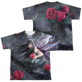 Anne Stokes Rose Fairy (Front Back Print) Short Sleeve Youth Poly Crew T-Shirt