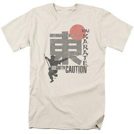 Hai Karate Caution Short Sleeve Adult Cream T-Shirt