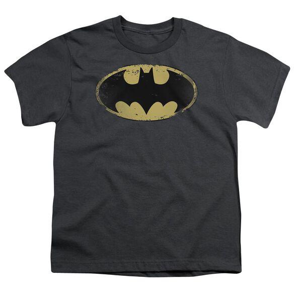 Batman Distressed Shield Short Sleeve Youth T-Shirt