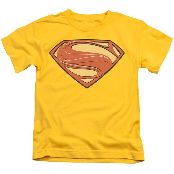 Man Of Steel New Solid Shield Short Sleeve Juvenile Yellow T-Shirt