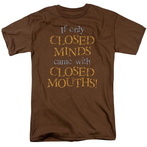 Closed Minds Short Sleeve Adult Coffee T-Shirt