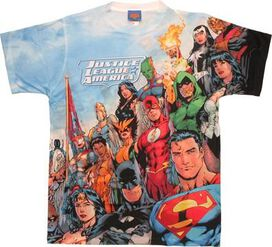 Justice League Angled Group Two Side Sublimated T-Shirt Sheer