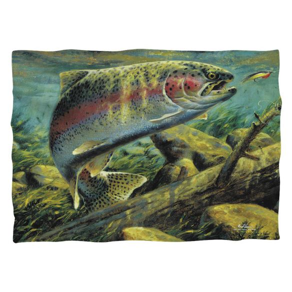 Wild Wings Rainbow Trout 2 (Front Back Print) Pillow Case White