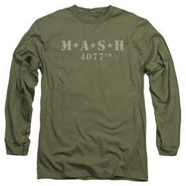 Mash Distressed Logo Long Sleeve Adult Military T-Shirt