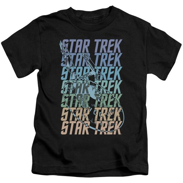 Star Trek Multi Logo Enterprise Short Sleeve Juvenile Black T-Shirt