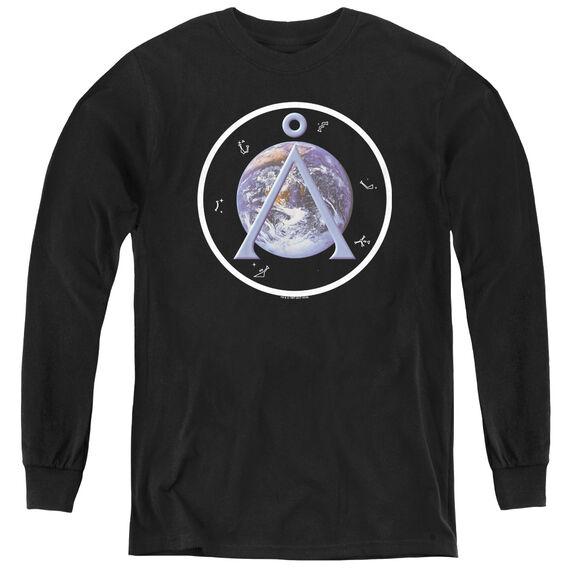 Sg1 Earth Emblem - Youth Long Sleeve Tee - Black