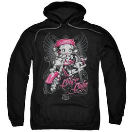 Betty Boop Biker Babe Adult Pull Over Hoodie Black