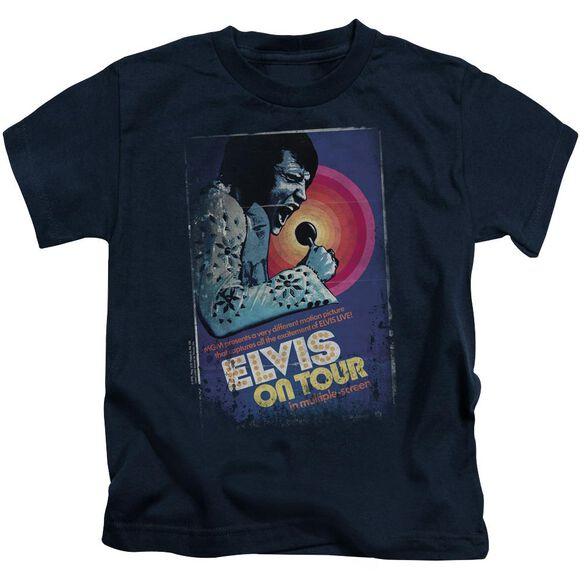 Elvis On Tour Poster Short Sleeve Juvenile Navy T-Shirt