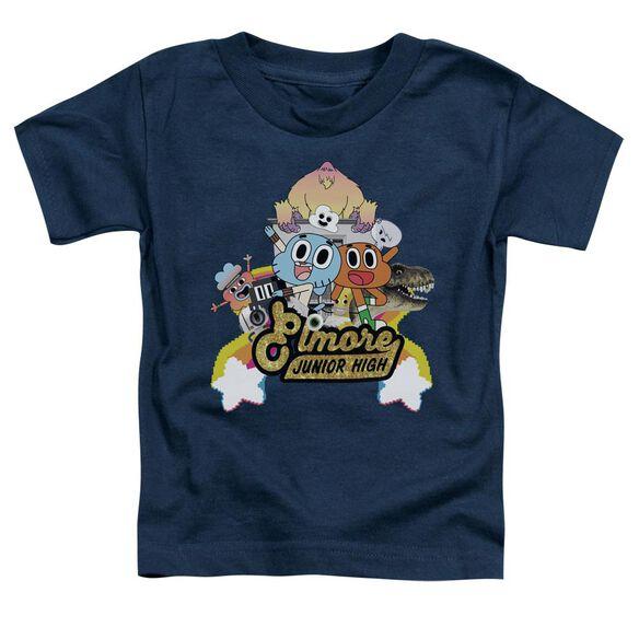 Amazing World Of Gumball Elmore Junior High Short Sleeve Toddler Tee Navy T-Shirt