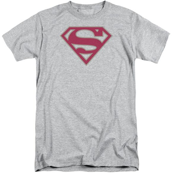 Superman Crimson & Gray Shield Short Sleeve Adult Tall Athletic T-Shirt