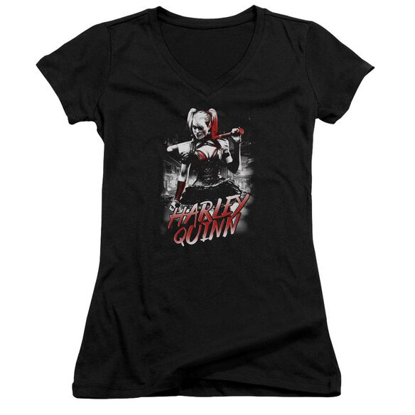 Batman Arkham Knight Quinn City Junior V Neck T-Shirt