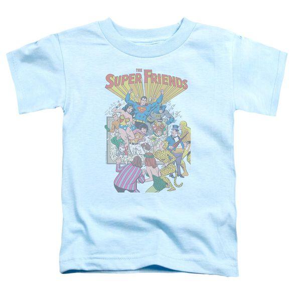 Jla Super Friends #1 Short Sleeve Toddler Tee Light Blue Lg T-Shirt