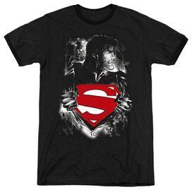 SUPERMAN DARKEST HOUR - ADULT HEATHER RINGER - BLACK