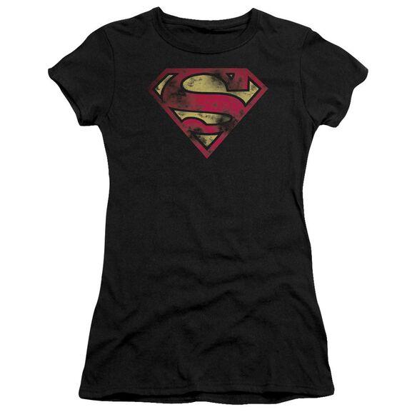 Superman War Torn Logo Short Sleeve Junior Sheer T-Shirt