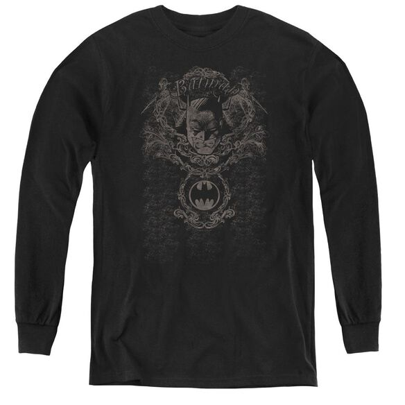 Batman Dark Knight Heraldry - Youth Long Sleeve Tee - Black