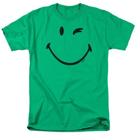 Smiley World Big Wink Short Sleeve Adult Kelly Green T-Shirt