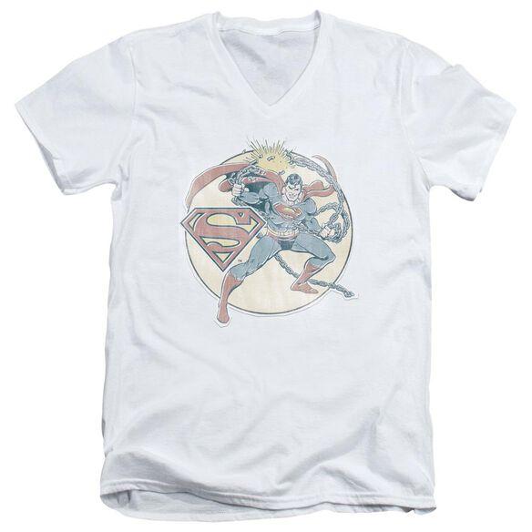 Dco Retro Superman Iron On Short Sleeve Adult V Neck T-Shirt