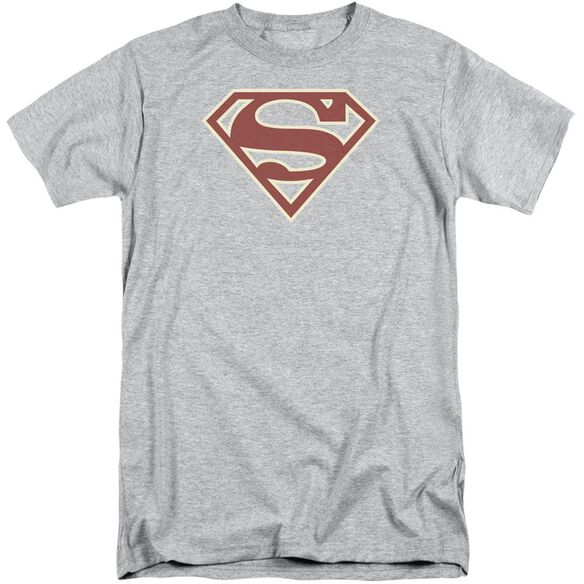 Superman Crimson & Cream Shield Short Sleeve Adult Tall Athletic T-Shirt
