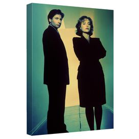 X Files Mulder Scully Hallway Canvas Wall Art With Back Board