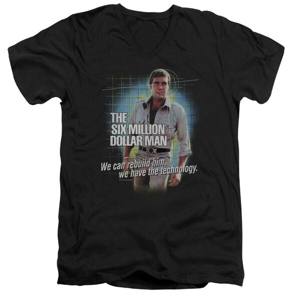 Six Million Dollar Man Technology Short Sleeve Adult V Neck T-Shirt