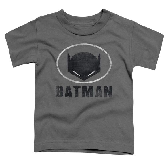 Batman Mask In Oval Short Sleeve Toddler Tee Charcoal T-Shirt