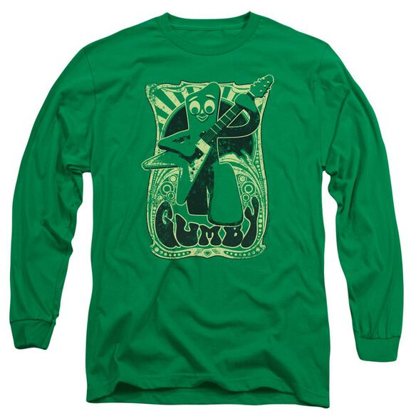 Gumby Vintage Rock Poster Long Sleeve Adult Kelly T-Shirt