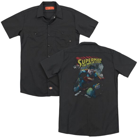 Superman Through The Rubble(Back Print) Adult Work Shirt