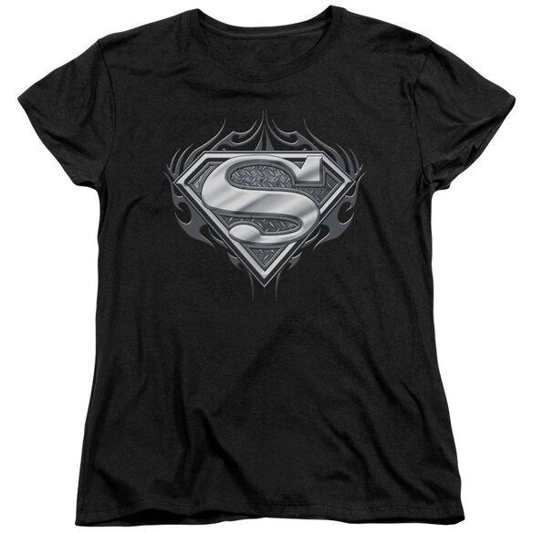 Superman Biker Metal Short Sleeve Womens Tee T-Shirt